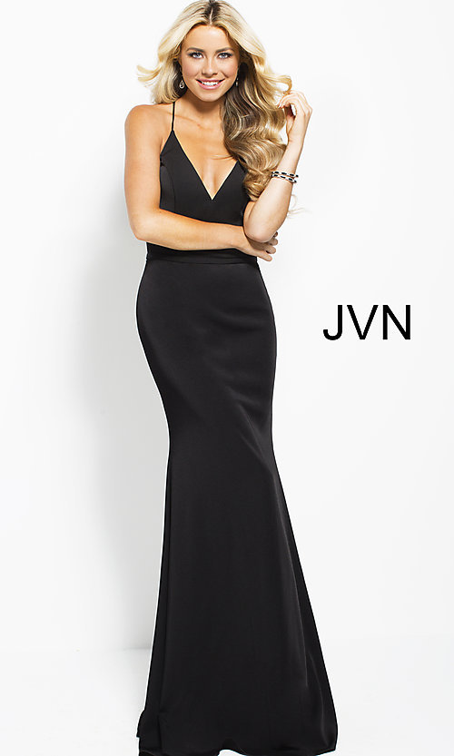 Formal V-Neck JVN by Jovani Long Prom Dress - PromGirl