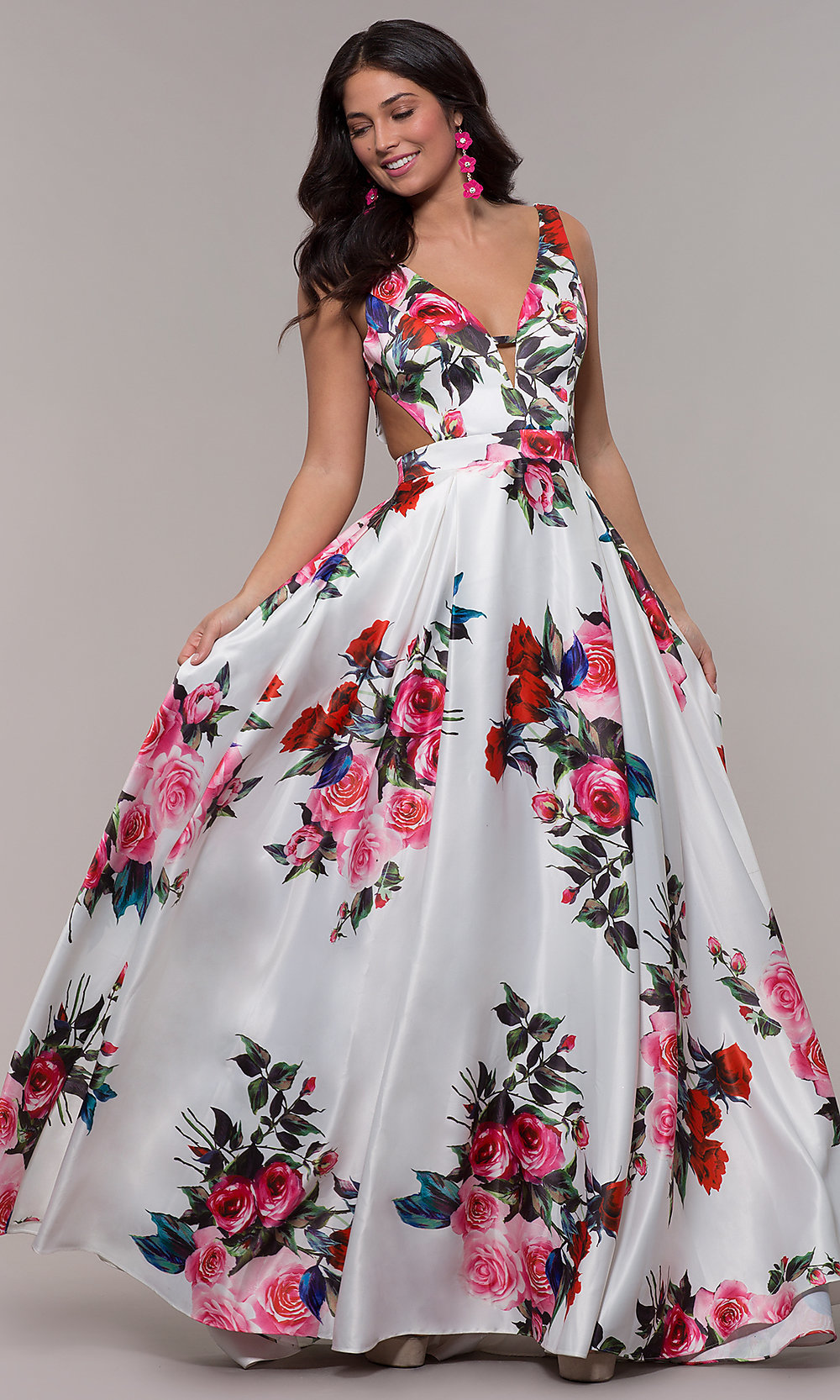 White Print A Line Prom Dress With Side Cut Outs