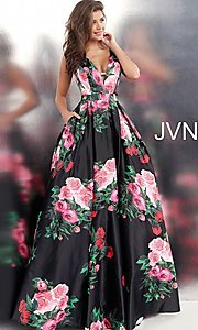 Image of white a-line print prom dress with side cut outs. Style: JO-JVN-JVN59146 Detail Image 4