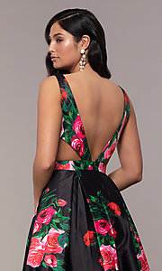 Image of white a-line print prom dress with side cut outs. Style: JO-JVN-JVN59146 Detail Image 7