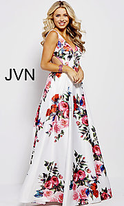 Image of white a-line print prom dress with side cut outs. Style: JO-JVN-JVN59146 Detail Image 3
