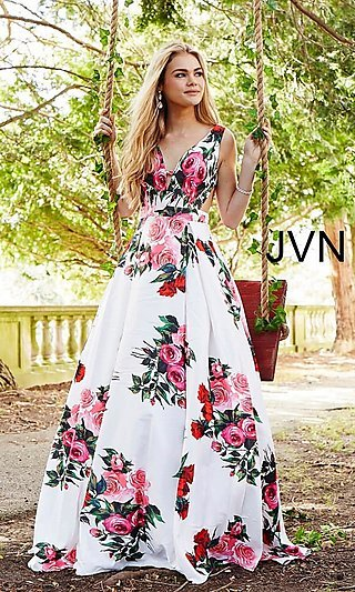 White A-Line Print Prom Dress with Side Cut Outs