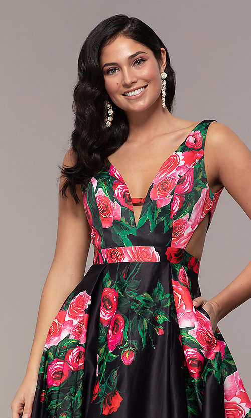 Image of white a-line print prom dress with side cut outs. Style: JO-JVN-JVN59146 Detail Image 6
