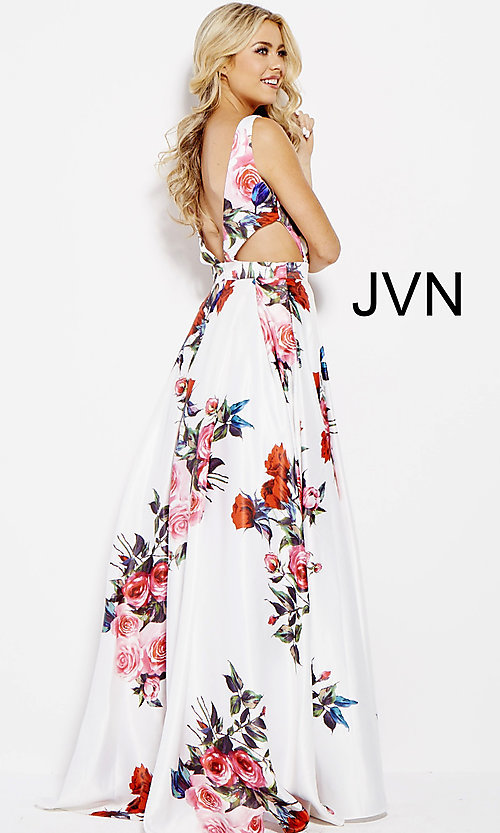 Image of white a-line print prom dress with side cut outs. Style: JO-JVN-JVN59146 Back Image