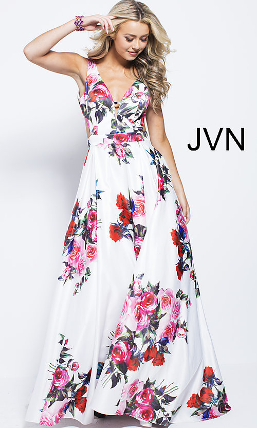 Image of white a-line print prom dress with side cut outs. Style: JO-JVN-JVN59146 Detail Image 2