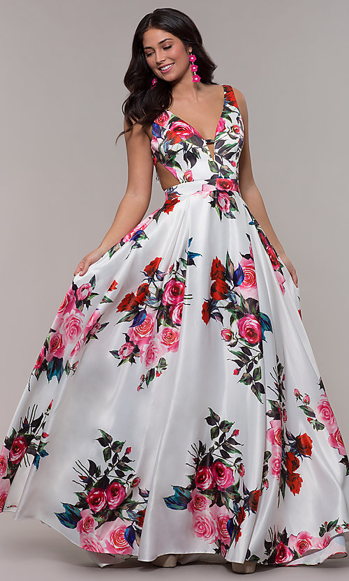 263676175a Image of white a-line print prom dress with side cut outs. Style