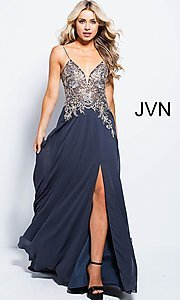 Image of long v-neck open-back prom dress with sheer bodice. Style: JO-JVN-JVN55885 Detail Image 3