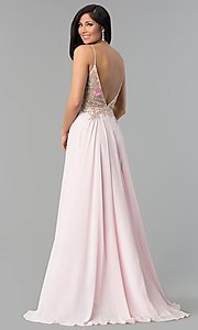 Image of long v-neck open-back prom dress with sheer bodice. Style: JO-JVN-JVN55885 Back Image