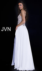 Image of long v-neck open-back prom dress with sheer bodice. Style: JO-JVN-JVN55885 Detail Image 2