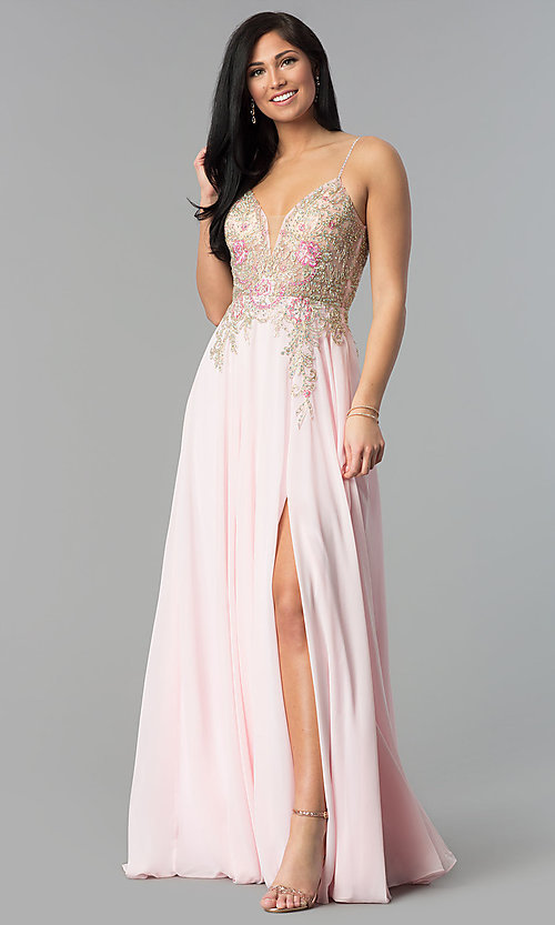 Image of long v-neck open-back prom dress with sheer bodice. Style: JO-JVN-JVN55885 Front Image