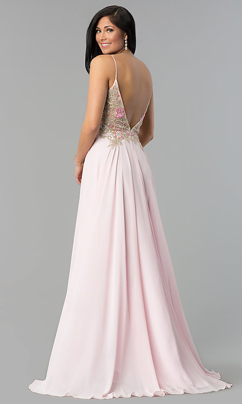 Illusion V-Neck Open-Back Long Prom Dress - PromGirl