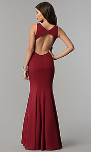 Image of JVNX by Jovani long mermaid prom dress with open back. Style: JO-JVNX58011 Back Image