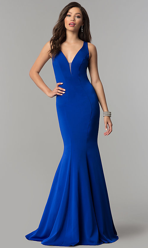 Image of JVNX by Jovani long mermaid prom dress with open back. Style: JO-JVNX58011 Front Image