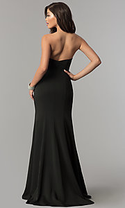 Image of long strapless JVNX by Jovani open-back prom dress. Style: JO-JVNX51327 Back Image