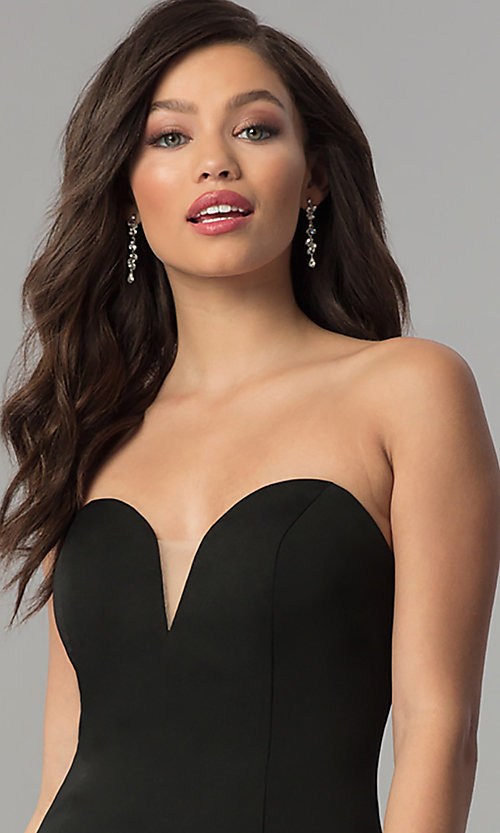 Image of long strapless JVNX by Jovani open-back prom dress. Style: JO-JVNX51327 Detail Image 1