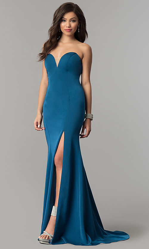 Image of long strapless JVNX by Jovani open-back prom dress. Style: JO-JVNX51327 Detail Image 2
