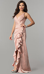 Image of JVNX by Jovani prom dress with ruffled side slit. Style: JO-JVNX60055 Front Image