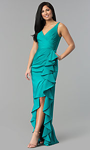 Image of JVNX by Jovani prom dress with ruffled side slit. Style: JO-JVNX60055 Detail Image 2