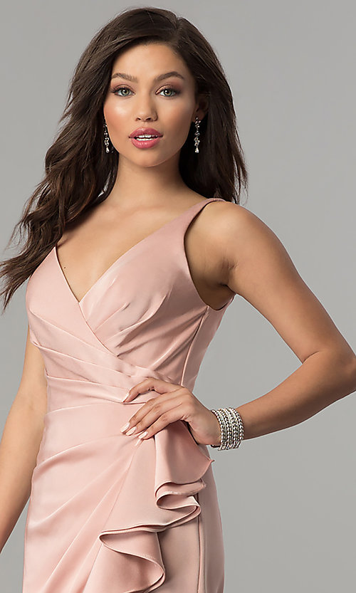 Image of JVNX by Jovani prom dress with ruffled side slit. Style: JO-JVNX60055 Detail Image 1
