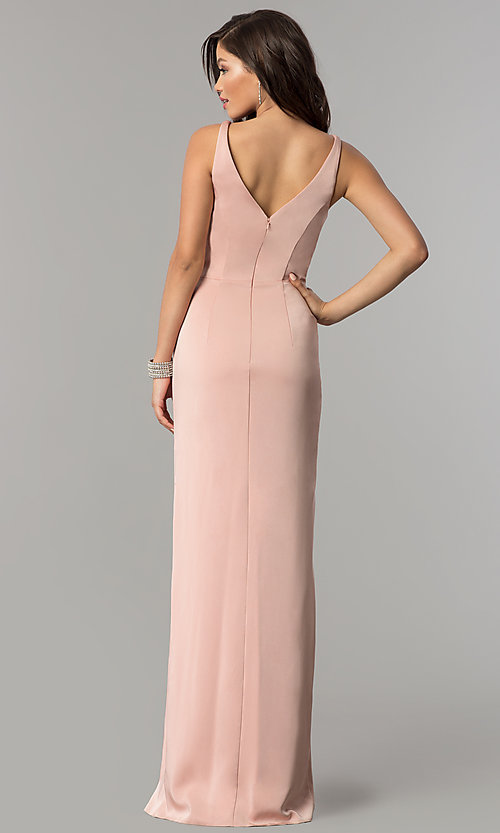 Image of JVNX by Jovani prom dress with ruffled side slit. Style: JO-JVNX60055 Back Image