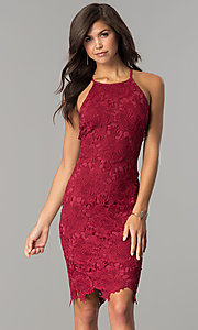 Image of knee-length sleeveless wine red lace party dress. Style: JTM-JMD6353-W Front Image