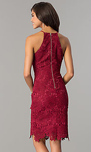 Image of knee-length sleeveless wine red lace party dress. Style: JTM-JMD6353-W Back Image
