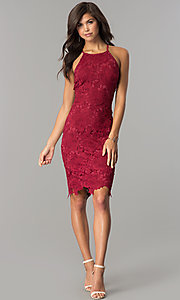 Image of knee-length sleeveless wine red lace party dress. Style: JTM-JMD6353-W Detail Image 2