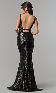 Image of Alyce long sequin prom dress with open sides. Style: AL-60036 Back Image
