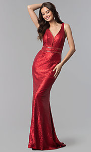 Image of Alyce long sequin prom dress with open sides. Style: AL-60036 Detail Image 1