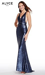 Image of Alyce long sequin prom dress with open sides. Style: AL-60036 Detail Image 3