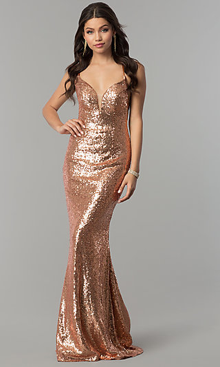 Long Sequin Open-Back Prom Dress by Alyce