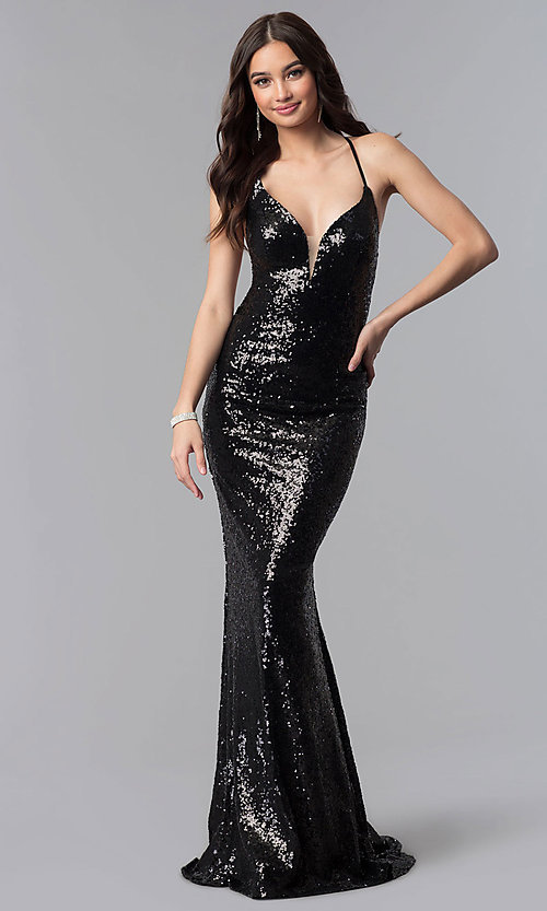 Image of long sequin open-back prom dress by Alyce. Style: AL-60032 Detail Image 3