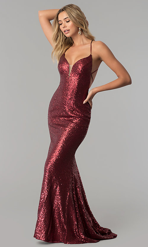 Image of long sequin open-back prom dress by Alyce. Style: AL-60032 Detail Image 2
