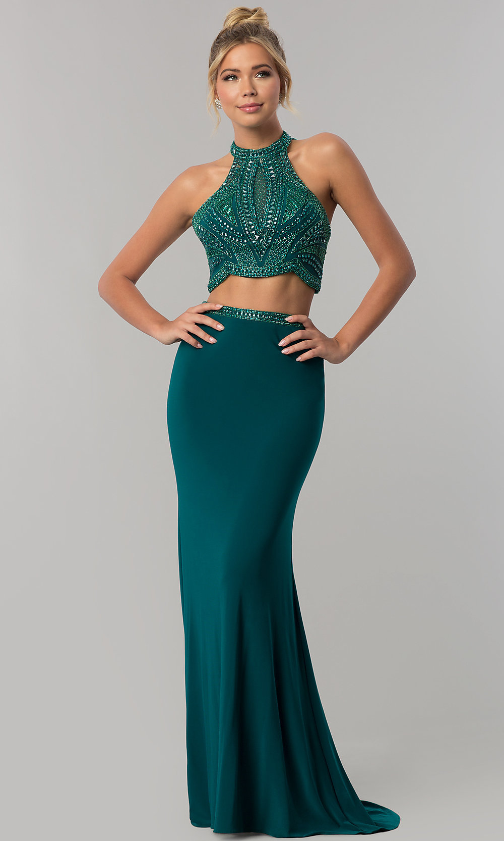 7fe147f6c5822 ... long two-piece jersey prom dress with beading. Style  AL. Tap to expand