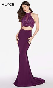 Image of Alyce long two-piece jersey prom dress with beading. Style: AL-60014 Detail Image 2