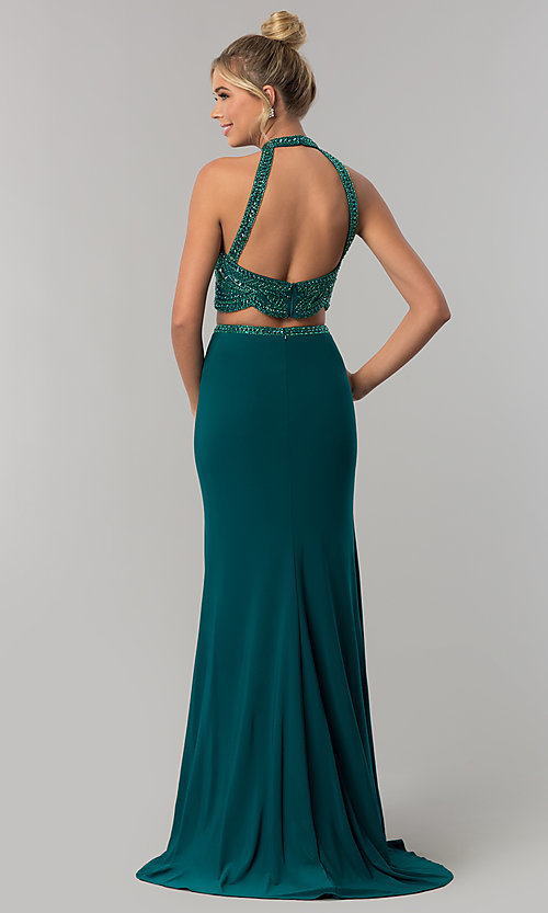 Image of Alyce long two-piece jersey prom dress with beading. Style: AL-60014 Back Image