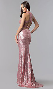 Image of long sequin high-neck two-piece prom dress. Style: AL-60030 Back Image