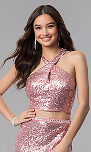 Image of long sequin high-neck two-piece prom dress. Style: AL-60030 Detail Image 1