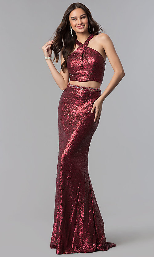 Image of long sequin high-neck two-piece prom dress. Style: AL-60030 Detail Image 2