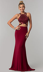 Long Mock Two-Piece High-Neck Prom Dress