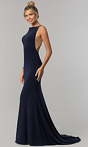 Image of long sleeveless Alyce prom dress with open back. Style: AL-60005 Detail Image 2