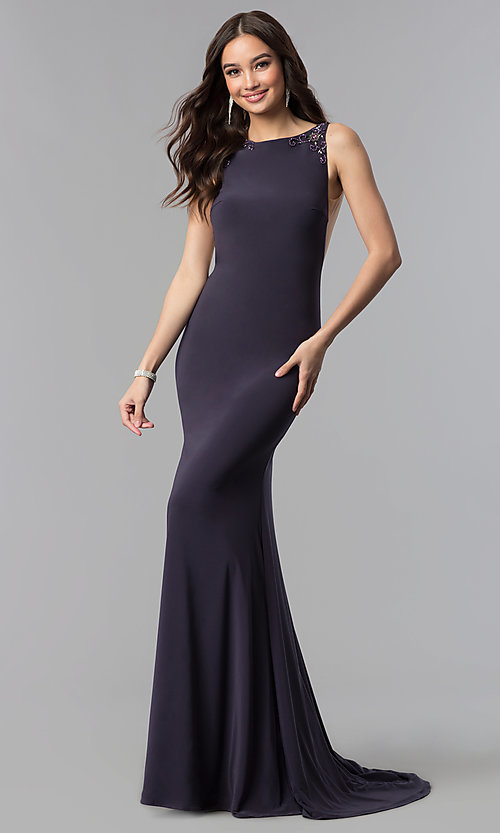 Image of long sleeveless Alyce prom dress with open back. Style: AL-60005 Detail Image 3