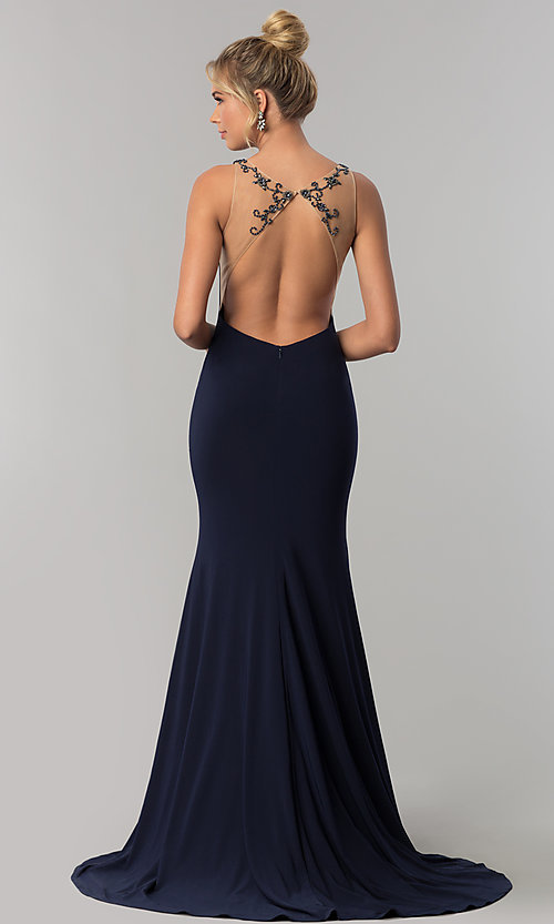 Image of long sleeveless Alyce prom dress with open back. Style: AL-60005 Back Image