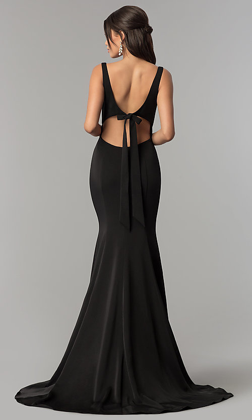 Image of long open-back formal prom dress by Alyce Designs. Style: AL-60002 Back Image