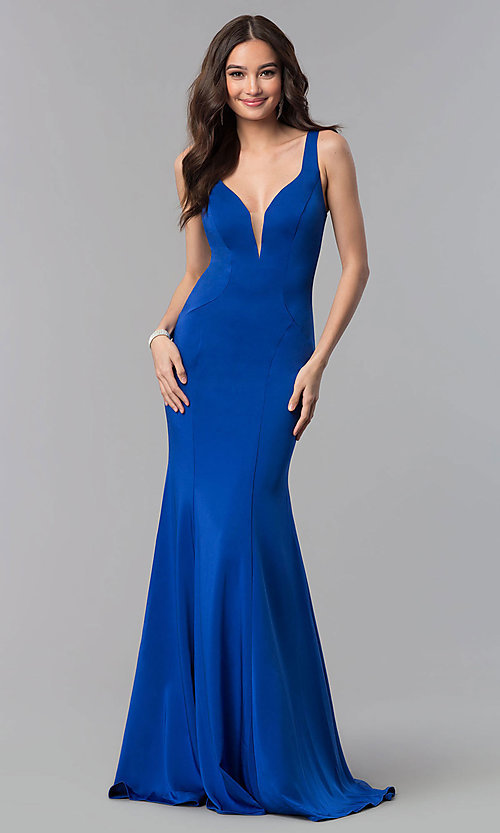 Image of long open-back formal prom dress by Alyce Designs. Style: AL-60002 Detail Image 1