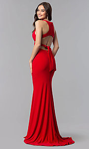Image of long Alyce two-piece high-neck prom dress in jersey. Style: AL-60003 Detail Image 4