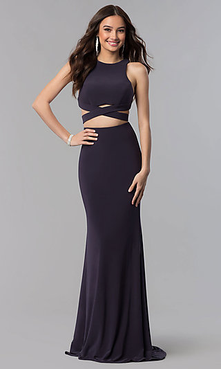 Long Alyce Two-Piece High-Neck Prom Dress in Jersey