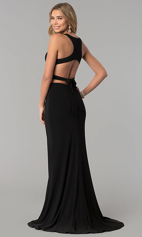 Image of long Alyce two-piece high-neck prom dress in jersey. Style: AL-60003 Back Image