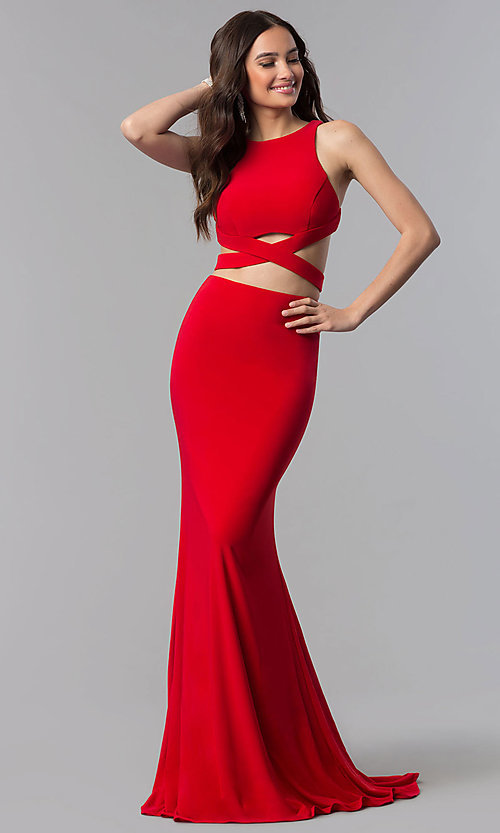 Image of long Alyce two-piece high-neck prom dress in jersey. Style: AL-60003 Detail Image 3