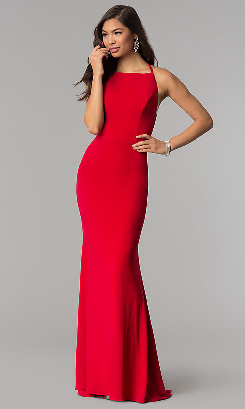 Image of square-neck open-back long prom dress by Alyce. Style: AL-60001 Back Image